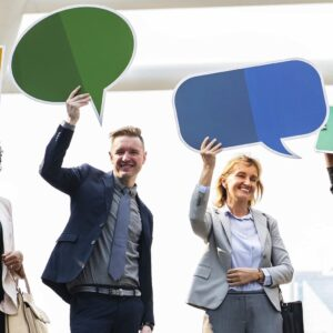 Group of people holding text bubbles | Association Health Plans | HealthCare.com